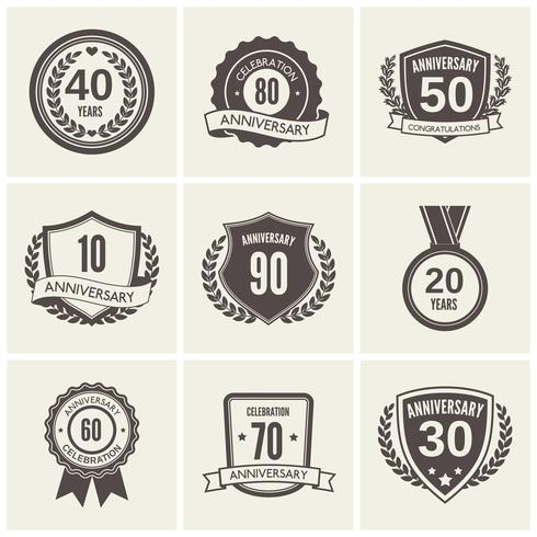 Set di etichette anniversario vettore