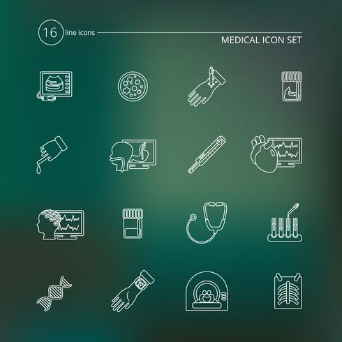 Contorno di icone di test medici vettore