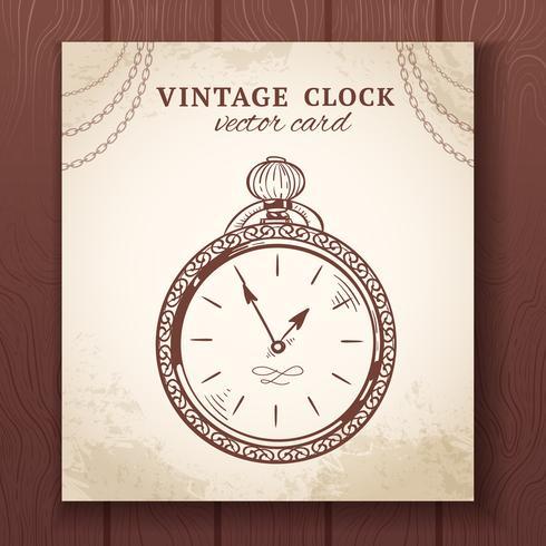 Vecchia carta vintage orologio da tasca vettore