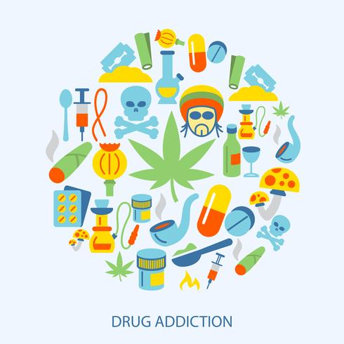 Icone di farmaci piatte vettore