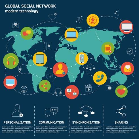 Infografica social network vettore