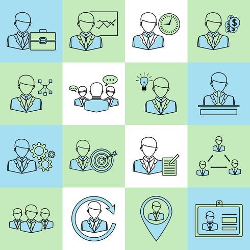 Linea piatta di icone di affari e gestione vettore
