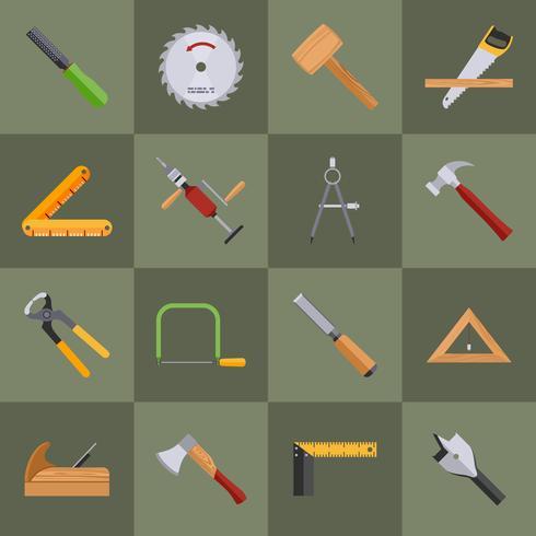Icone degli strumenti di carpenteria vettore