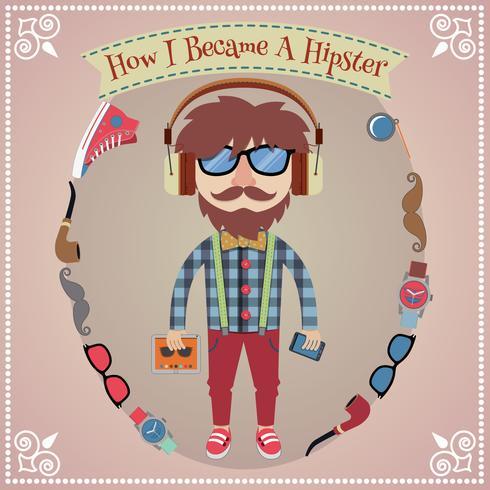 Poster ragazzo Hipster vettore