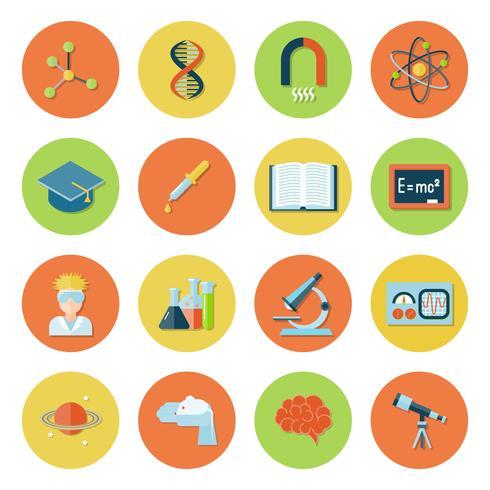 Icone di scienza e ricerca vettore