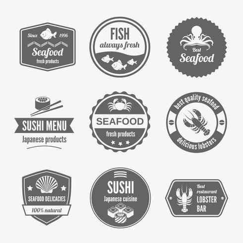 Etichetta di pesce impostata in nero vettore