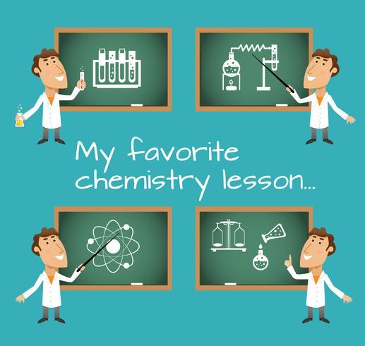 Lavagne per lezioni di chimica vettore