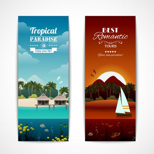 Banner verticale isola tropicale vettore
