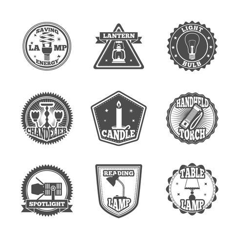 Set di etichette torcia e lampade vettore