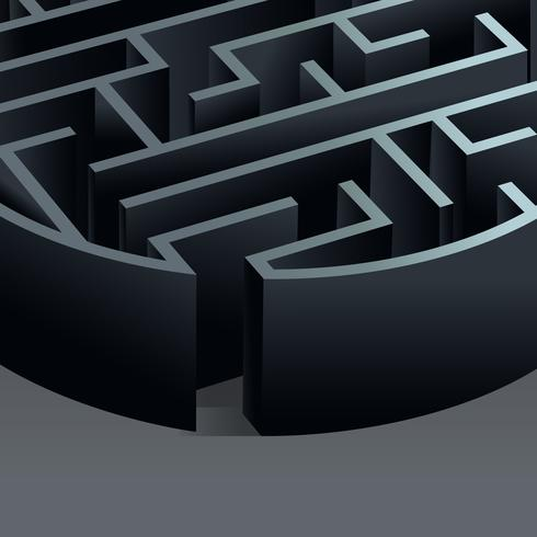 Labirinto 3d cerchio vettore
