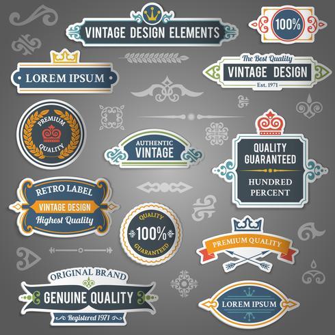 Adesivi di elementi di design vintage vettore