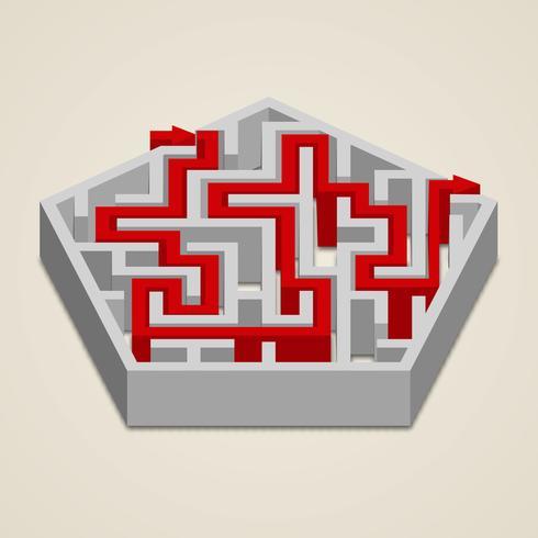 Labirinto di labirinto 3d con soluzione vettore