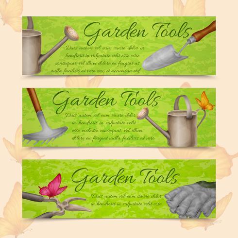 Banner orizzontale di attrezzi da giardino vettore