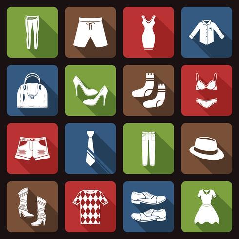 Icone di vestiti piatte vettore