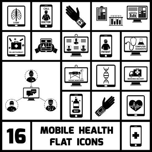 Icone di salute mobile impostate in nero vettore