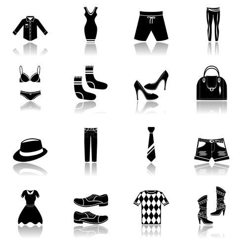 Icone di vestiti nere vettore