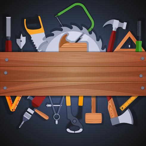 Sfondo di strumenti di carpenteria vettore