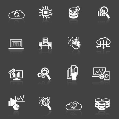 Icone di analisi dei dati del database in bianco e nero vettore