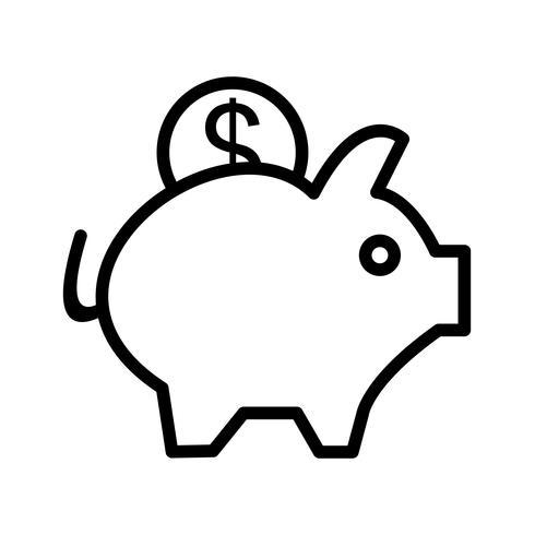 Icona del porcellino salvadanaio vettoriale
