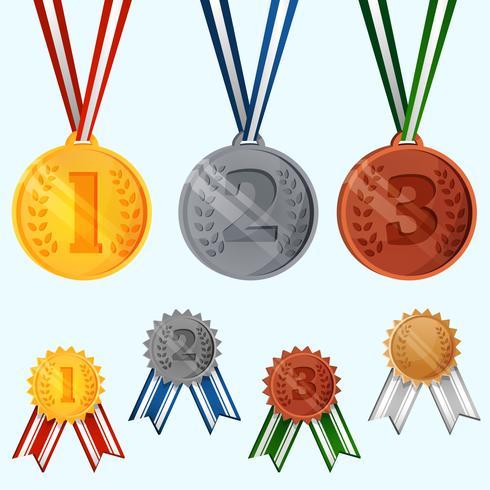 Set di medaglie premio vettore