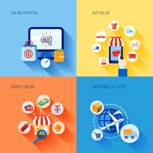 Icone di e-commerce dello shopping impostate piatte vettore