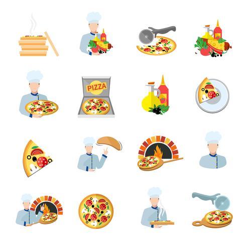 Set di icone di pizzaiolo vettore