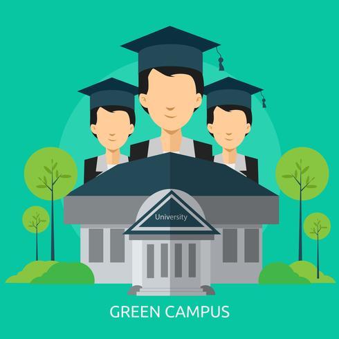 Disegno concettuale dell'illustrazione della città universitaria verde vettore