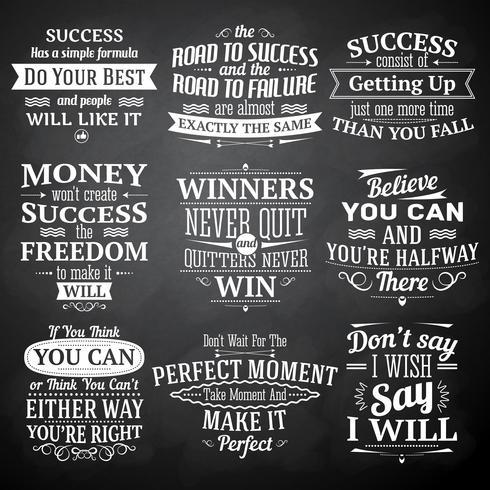 Set di lavagna di citazioni di successo vettore