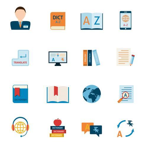 Set di icone di traduzione e dizionario vettore