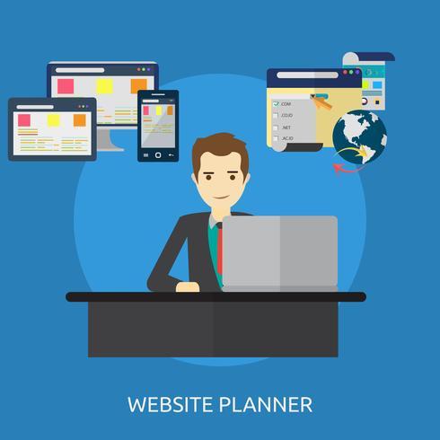 Progettazione concettuale dell'illustrazione del pianificatore del sito Web vettore