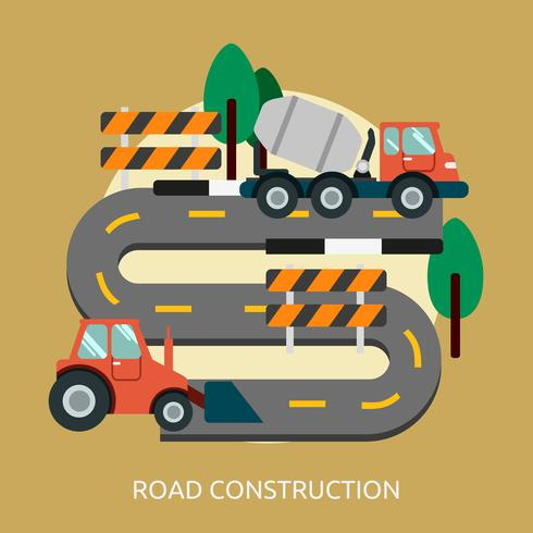 Progettazione concettuale dell'illustrazione della costruzione di strade vettore
