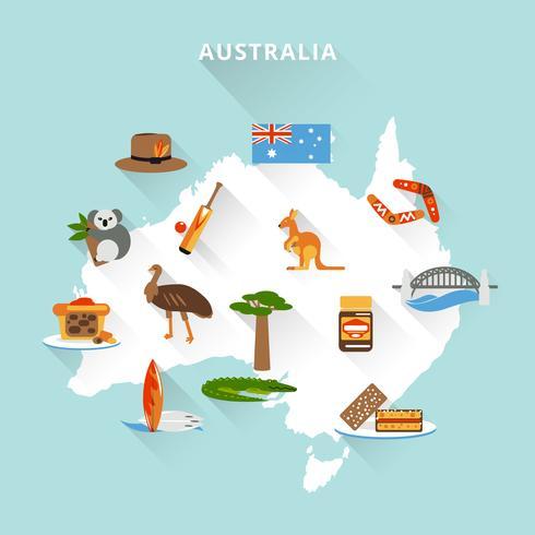 Mappa turistica dell'Australia vettore