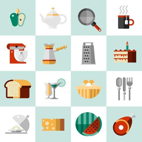 Cucinare icone cibo vettore
