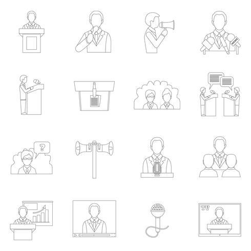 Contorno di icone di parlare in pubblico vettore