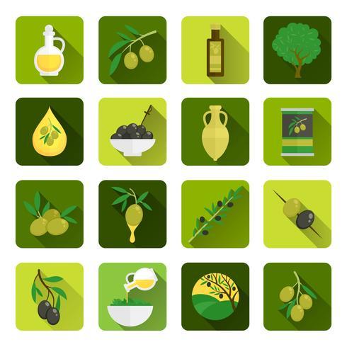Icone di olive piatte vettore