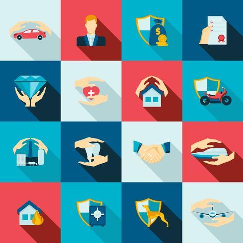 Icone di assicurazione piatte vettore