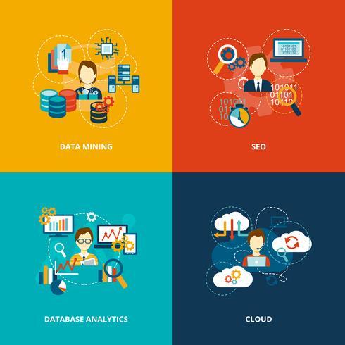 Icone di analitica del database piatte vettore