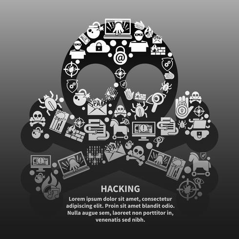 Poster di teschio hacker vettore