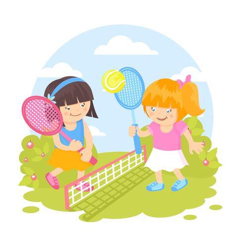 Ragazze che giocano a tennis vettore