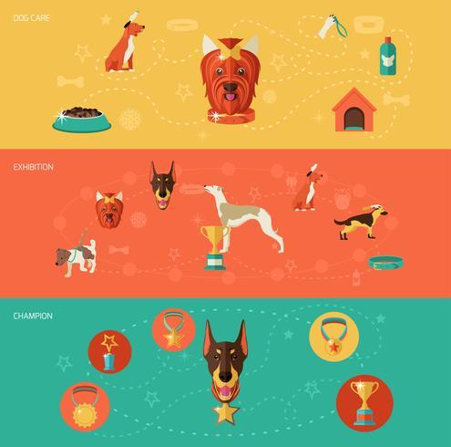 Set di banner icone cane vettore