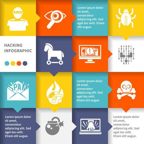 Set di infografica hacker vettore