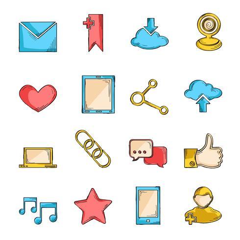 Linea di schizzo icone social network vettore