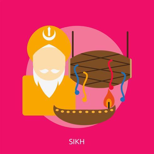 Disegno concettuale sikh dell'illustrazione vettore