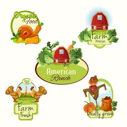 Azienda agricola etichette fresche colorate vettore