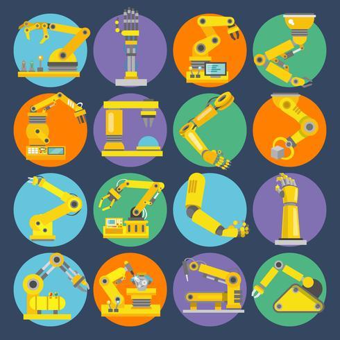 Icone del braccio robotico piatte vettore