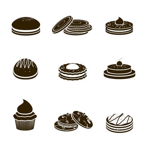 Set di biscotti neri vettore