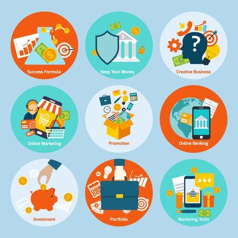 Set di concetto di business vettore