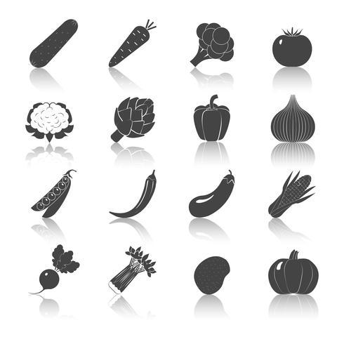 Set di icone di verdure nere vettore