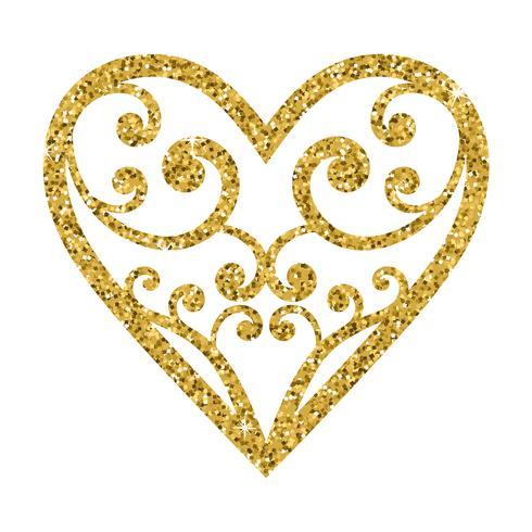 Cuore ornamentale di giorno di biglietti di S. Valentino di scintillio su un fondo bianco. vettore