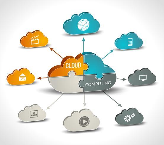 Cloud computing infografica vettore